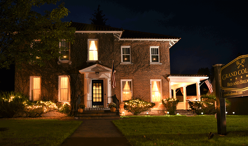grand colonial exterior night
